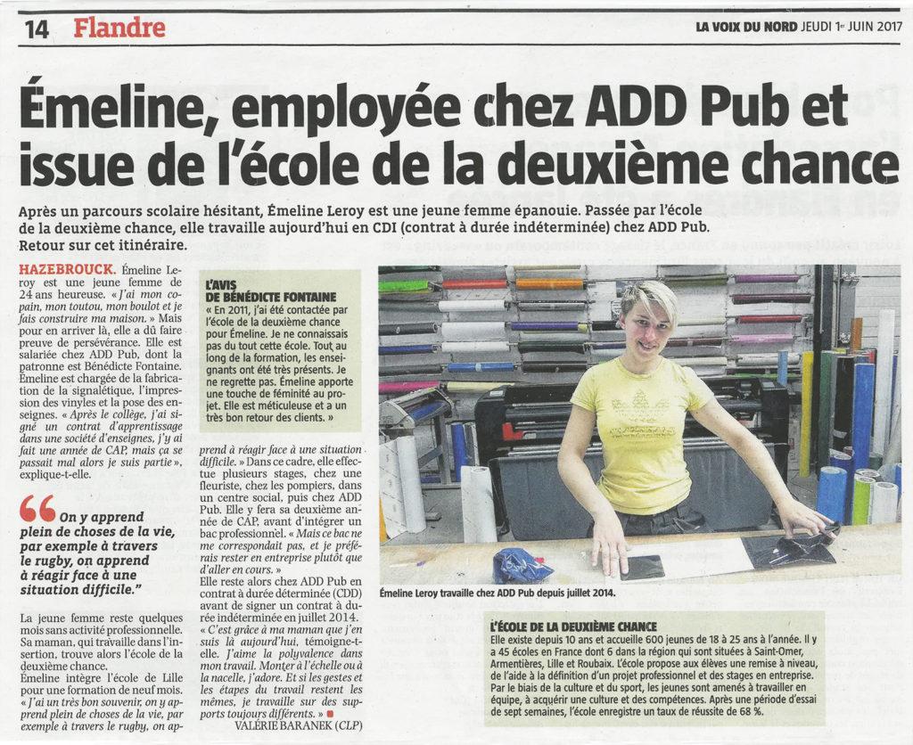 Emeline employée chez Add pub