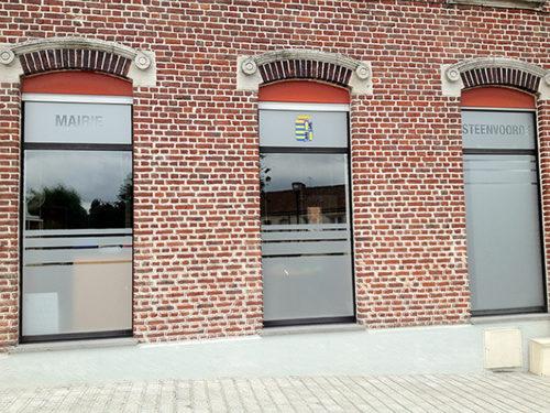 Décor vitre mairie de Steenvoorde